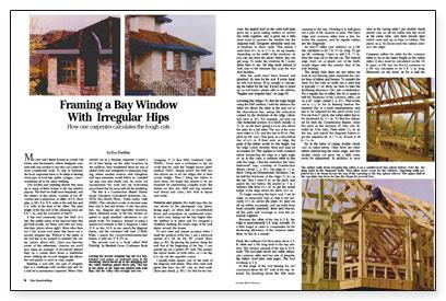 Framing a bay window with irregular hips fine homebuilding for Bay window roof framing
