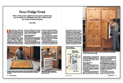 This article describes how to attach framed wood panels to a conventional  refrigerator using aluminum channels, giving it a built-in look at far less  cost ... - Faux Fridge Front - Fine Homebuilding