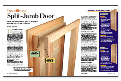Installing a split jamb door fine homebuilding for Hanging a prehung interior door