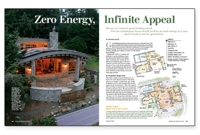 the electric meter spins backwards on sunny days and spins very slowly at night the roof has plants on it by design this award winning house 2005 - Zero Energy Home Design