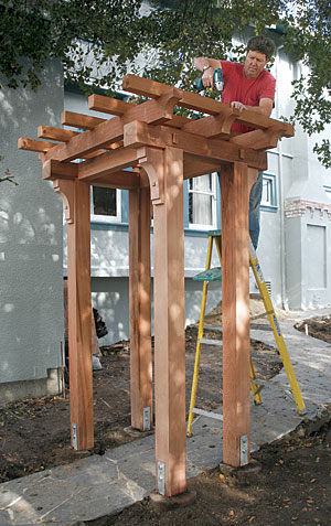 Build a craftsman style pergola fine homebuilding for Japanese garden trellis designs