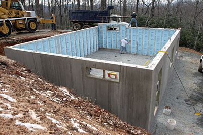 So easy even a carpenter can do it fine homebuilding for Foam block foundation prices