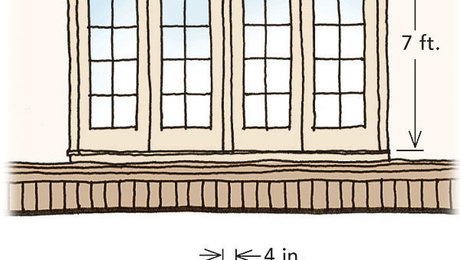 Common solution: The 10-ft. by 7-ft. opening requires two pairs of French doors or sliders, a busy look when the doors are closed. When they're open, a central mullion clogs the entrance.
