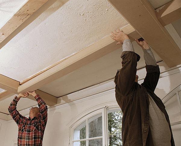 Tips for a coffered ceiling fine homebuilding for Homebuilding com