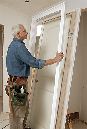 Hang a split jamb door fine homebuilding - How to install a prehung exterior door ...