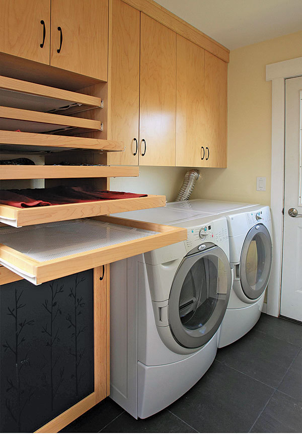 Laundry room trifecta hamper storage area and drying racks finehomebuilding - Laundry drying racks for small spaces property ...