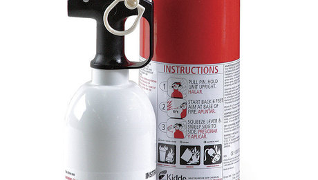 Kitchen safety. Most kitchen extinguishers, such as this white one, are BC units. Kidde, though, makes a kitchen fire extinguisher that has been tested to a new UL residential standard that covers vegetable and peanut oil specifically.