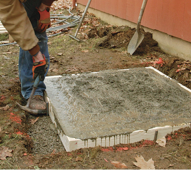 Concrete Slab For Ac : Placing a small concrete slab fine homebuilding