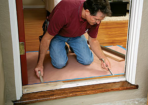 exterior door floor threshold. learn how to make and fine-tune the template, then measure, cut, replace threshold like a pro exterior door floor