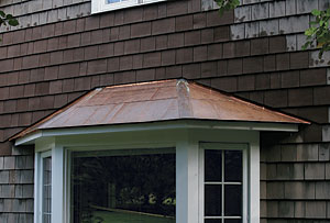 a flat seam copper roof for a bay window fine homebuilding copper clad hip style roof on a bay window http soft