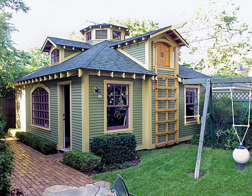 Sheds with style fine homebuilding for Playhouse with garage plans