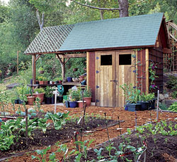 this potting shed features enclosed storage for tools wheelbarrows and power equipment a potting bench and staging area are located beneath an attached