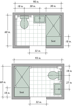 The basics of a barrier free bath fine homebuilding Universal design bathroom floor plans