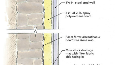 Cure for a leaky stone foundation fine homebuilding for Best backfill material for foundation