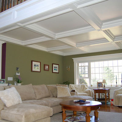 Family Room Gets a Coffered Ceiling