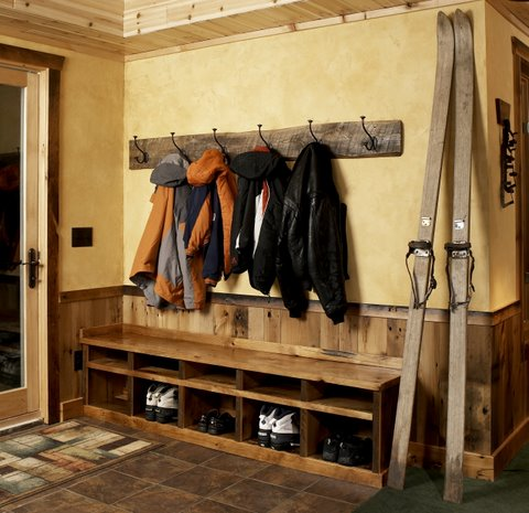 This Simple Rustic Bench Allows For Seating And Storage Of Boots, Shoes,  Mittens And Hats.