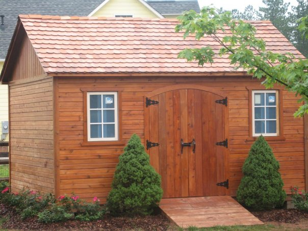 Garden shed cedar planking w individual cedar shingles for Cedar shingle shed