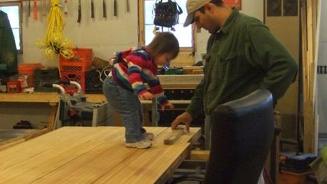 """Uh-oh... boom, boom dada!"" She saw the piece that had broken off my bench and knew it would take a hammer to fix it."