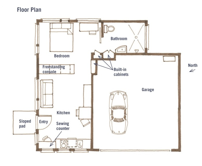 Garage conversion plan 2 garage conversion plan 3 home for Converting a garage into an apartment floor plans