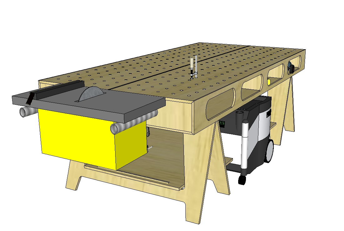 The ultimate carpenter 39 s workbench fine homebuilding for Table design sketchup