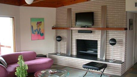 Mid Century Fireplace renovated mid-century fireplace - fine homebuilding