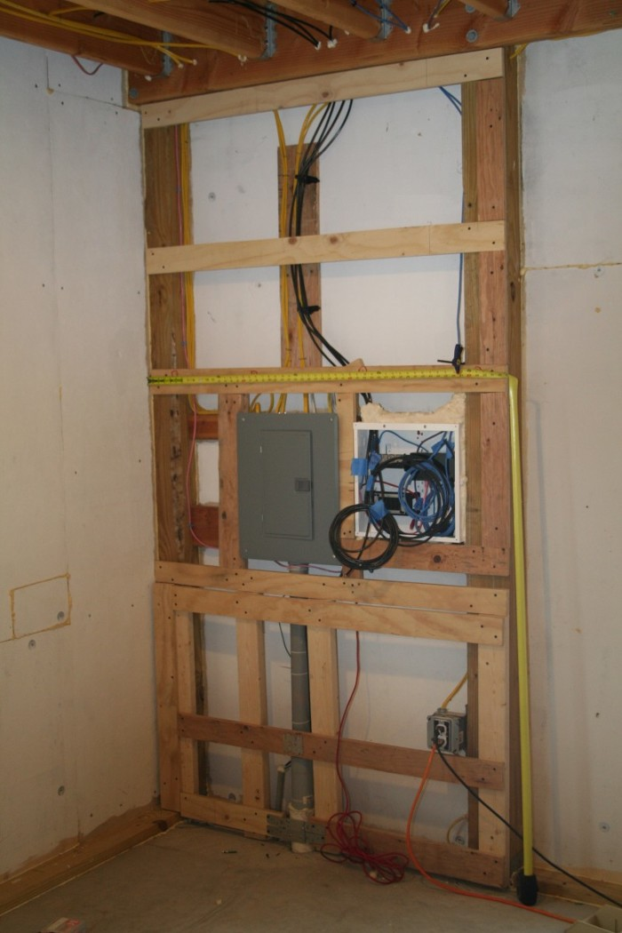 Patricks barn heat light and internet fine homebuilding heres the 10 space 100 amp subpanel and the structured wiring panel the barn has four internet jacks and four catv jacks furring out this small section greentooth Choice Image