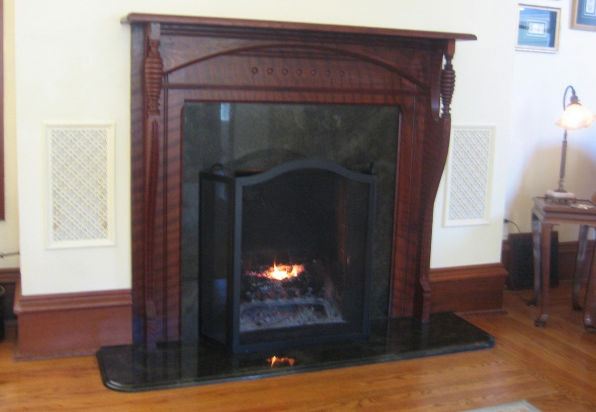 quilted redwood victorian fireplace mantle with hidden tv fine
