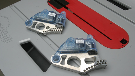 The brake cartridges are identical to the brake cartridges found on larger SawStop saws. The dado cartridge is in the foreground, and the standard cartridge is behind it. They sell for about $70 each. Both the cartridge and the sawblade must be replaced when the safety system is activated.