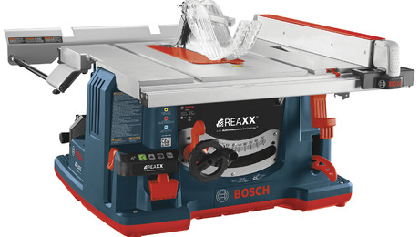 The Bosch REAXX (list $1500) is a job-site portable that's about the same size as the DeWalt 744, the SawStop Jobsite, and the Ridgid R4513. It has an explosive cartridge that forces the spinning blade beneath the table when it's touched. Unlike with SawStop's model, the blade is not destroyed.