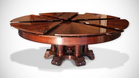 The expanding Capstan table from English furniture makers Fletcher Buwell-Taylor increases in size by 73% when rotated 120 deg. You can have it made in any wood species with any finish. Each is custom made and sells for tens of thousand of pounds.