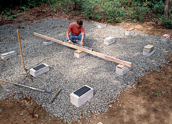 Build your shed on a solid foundation fine homebuilding for Building a block foundation