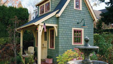 This small, multi-purpose garden shed has a big presence.