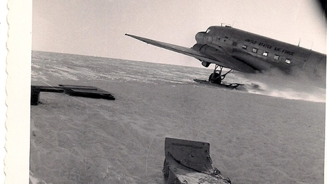 Supplies for us working on the Greenland icecap were brought by a C-47 plane equipped with skis.