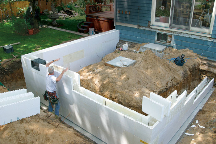 How to insulate concrete foundation walls from the inside for Foam block wall construction