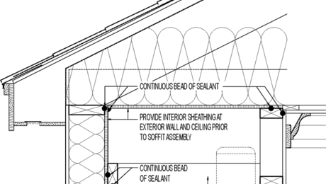 Soffits can connect walls and ceiling framing cavities. Air can leak through can lights to literally suck heat (or air conditioning) out of a house.