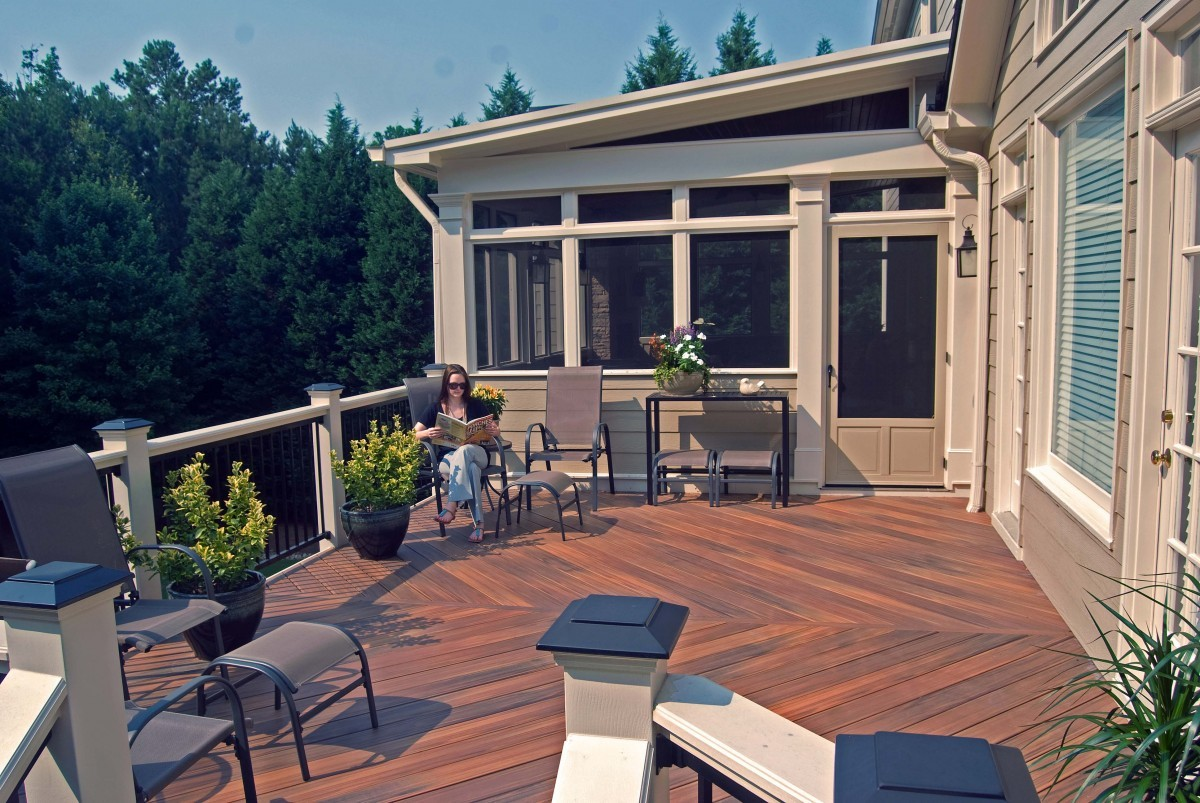 porch and deck combo with fireplace and patio in johns creek