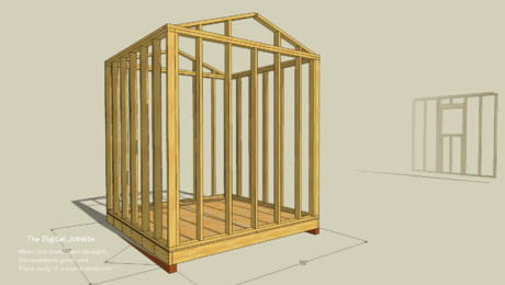 Shed wall layout simplified in this SketchUp model view