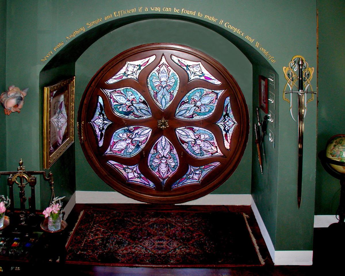 The making of a hobbit house door fine homebuilding for Door design round