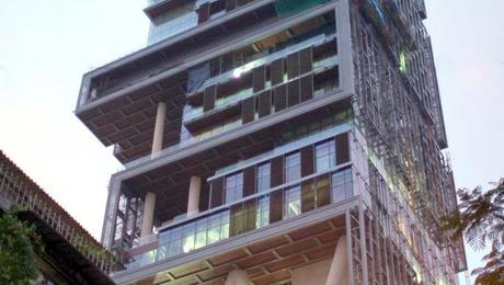 Antilia, an extremely large home in South Mumbai, India