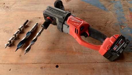 The Milwaukee M18-Fuel right-angle drill is powerful enough to replace a corded right-angle drill. It's available with a Quick-Lok chuck (shown) or a conventional keyed chuck. The models for electricians spin a little faster than the models for plumbers, who drill larger holes.