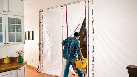 ZipFast reuseable dust barriers are 12 ft. high and available in widths from 2 1/2 to 10 ft. The washable barriers have built-in zippers that allow you to join as many panels as necessary to close off rooms and spaces for remodeling work. The manufacturer gives them a 10-year warranty.