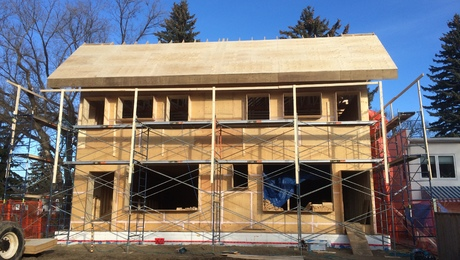 Built for the climate.The Temperance Street Passive House in Saskatoon, Saskatchewan, will have more than 17 in. of dense-pack cellulose in exterior walls and R-100 worth of loose-fill cellulose in the attic.