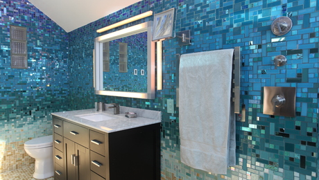 Turn your bathroom into a seaside oasis with this bold Caribbean-gradient mosaic pattern