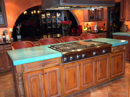 kitchen island with concrete counter top homebuilding