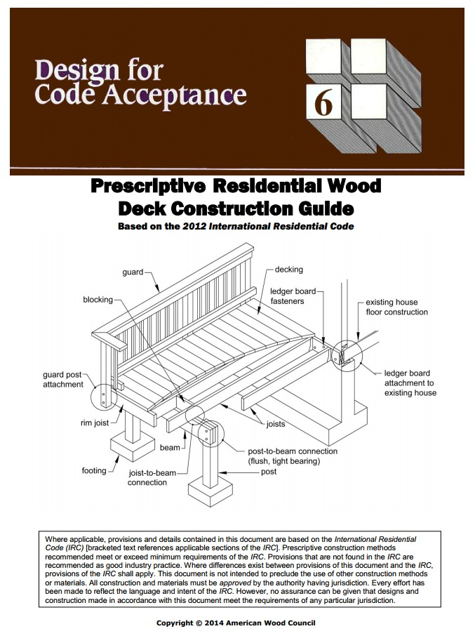 Dca 6 deck construction guide new version for 2012 irc for Home building guide