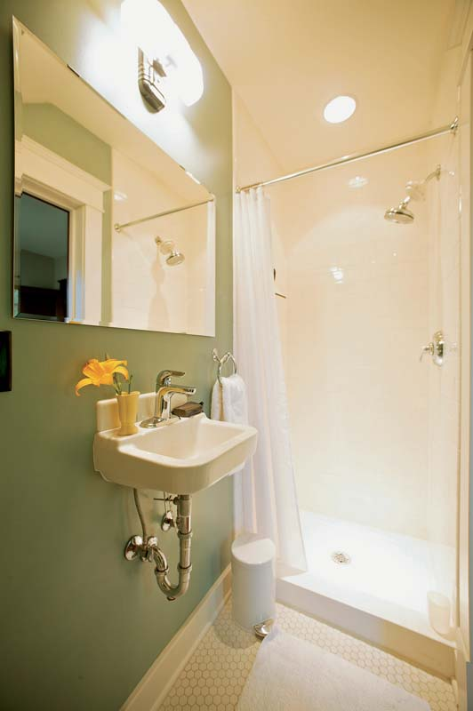 Shower Solution #1: A Shower Stall And Small Sink Turned This Space Under  The Stairs Into A Full Service Bathroom.