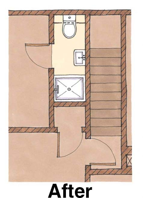 bathroom ideas for attic bathrooms - Fitting a shower in a small bath floorplan Fine Homebuilding