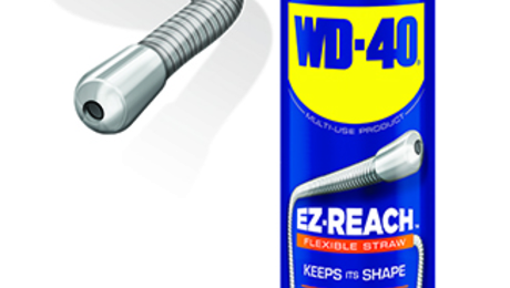 WD-40's 8-in. EZ-Reach Flexible Straw holds its shape for spraying around obstacles.