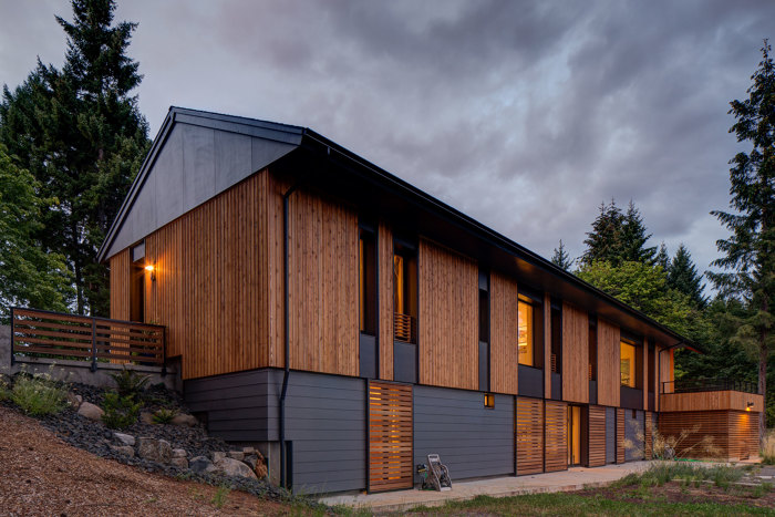 this cedarclad home in oregon is insulated with densepack cellulose and airsealed to about half the passivhaus limit features that will sharply reduce