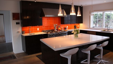 Black Palm Kitchen, Orange Glass Tile, White Quartz Counters